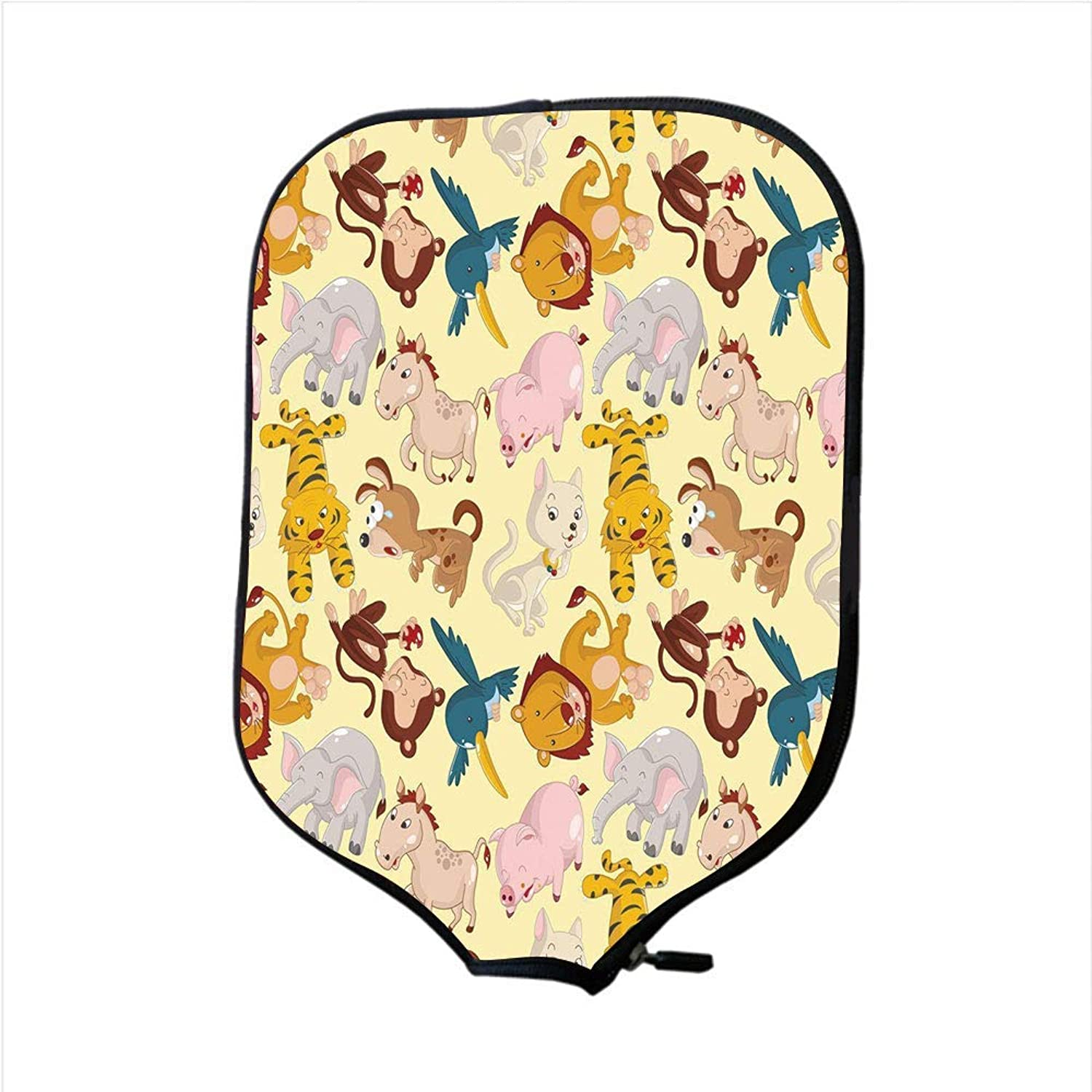 Fine Neoprene Pickleball Paddle Racket Cover Case,Nursery,Cartoon Animals Jungle Themed Design Monkey Pig Tiger Elephant Lion Horse Sparrow Decorative,Multicolor,Fit for Most Rackets