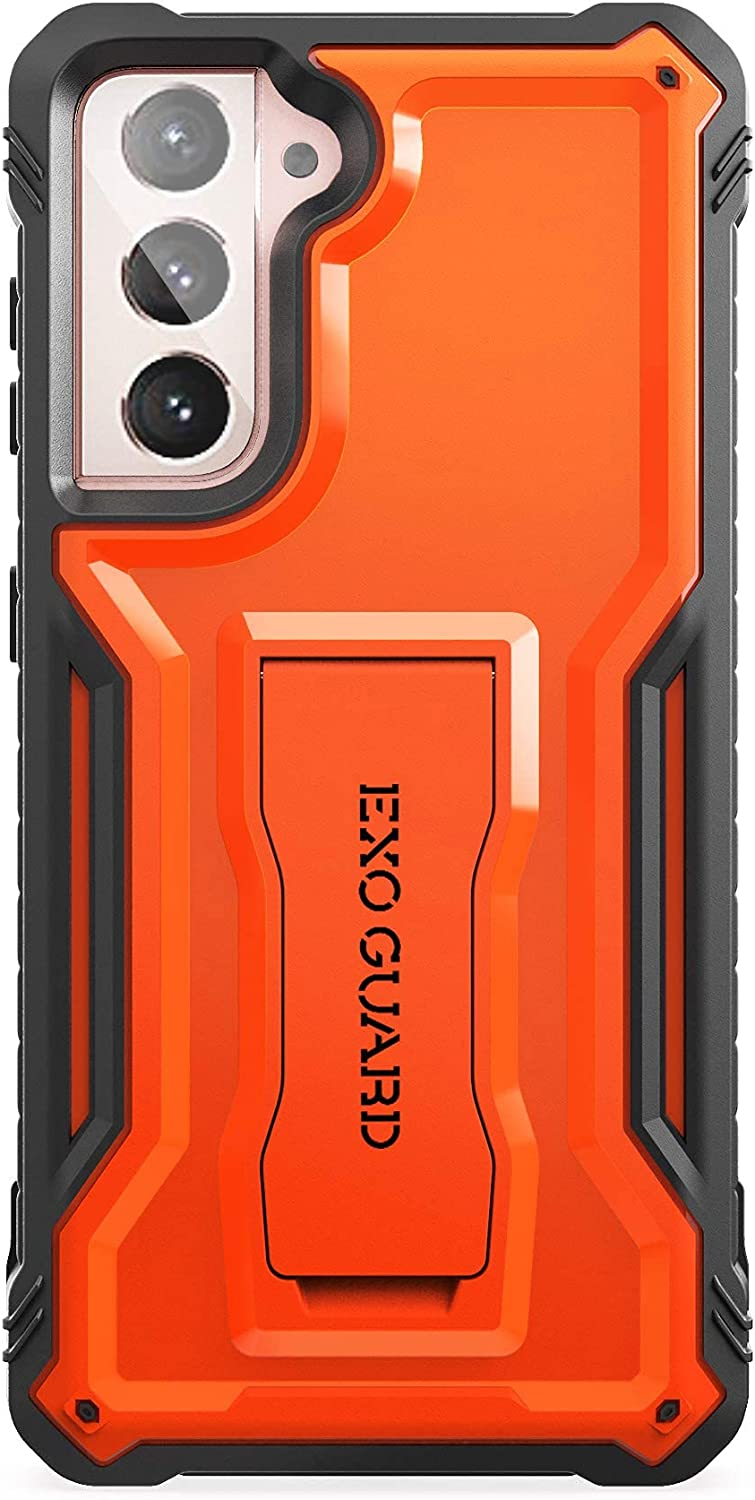 ExoGuard Samsung Galaxy S21 5G Case, Rubber Shockproof Full Body Cover Case for Samsung S21 5G Phone 6.2 Inch, Built-in Kickstand (Orange)