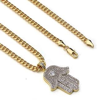 Lab Diamond Micro Pave Hamsa Vision Pendant w/Miami Cuban Chain BR010G