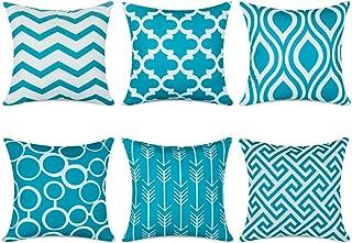 Topfinel 6er Set Kissenbezüge 45x45 cm Qualitäts Kissenhüllen in Segeltuch mit Geometrischen Mustern für Sofa Auto Terrasse Zierkissenbezüge Serie Türkis und Weiß