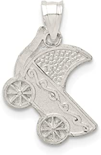 Jewel Tie 925 Sterling Silver Baby Buggy Pendant Charm (13mm x 20mm)