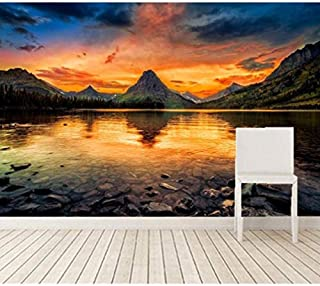 FSLUCKY Custom 3D Murals Mountains Lake Sunrises and Sunsets Nature Wallpapers Living Room Sofa Tv Wall Children Bedroom 78X55in