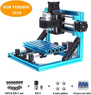 CNC Router Engraving Machine 1610 Pro GRBL Control3 Axis Mini Wood PCB PVC Milling Carving Machine with ER11 and 5mm Extension Rod + 10pcs CNC Router Bits + 4 Sets CNC Plates