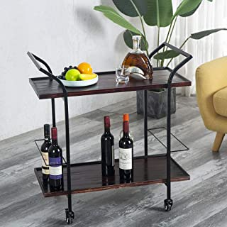 Joelgium Bar Carts for The Home,Industrial Kitchen Rolling Serving Cart with Wheels - Solid Wood and Metal - Wine Cart