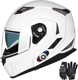 Motorcycle Bluetooth Helmets,FreedConn Flip up Dual Visors Full Face Helmet,Built-in Integrated Intercom Communication System(Range 500M,2-3Riders Pairing,FM radio,Waterproof,M,White)