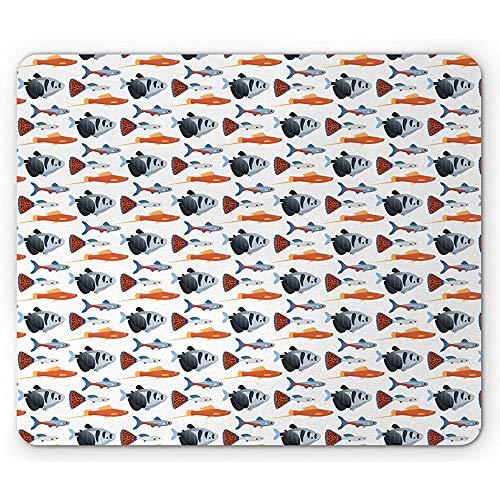 Aquarium Mouse Pad, Exotische Zoetwatervissen Soorten van Wildlife Sketch op Plain BackdropWit en Multi kleuren