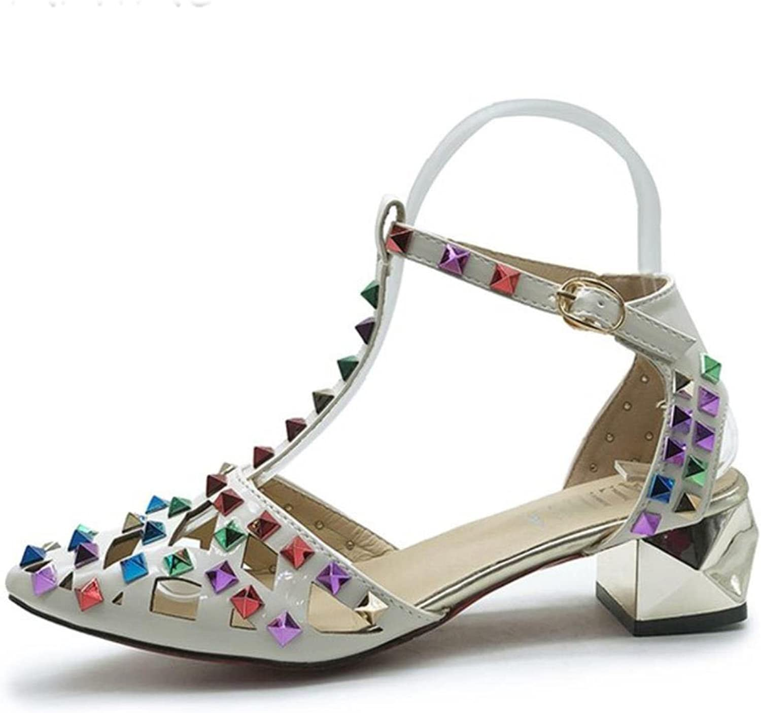 Summer Cool colorful Rivets Thick Heels High-heeled Sandals Lady39;s Simple Sexy Style Women Ankle Belt Sandals