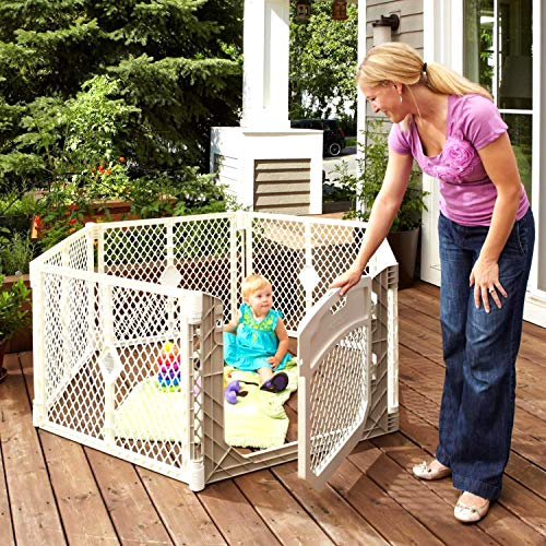 Toddleroo by North States Superyard Ultimate 6-Panel Play Yard:Safe Play Area for Indoors or Outdoors.Folds up with Carrying Strap for Easy Travel.Freestanding.18.5 sq.ft. Enclosure (26' Tall, Ivory)