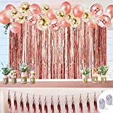 Rose Gold Party Decorations, Balloons Party Supplies for Party Deco Birthday Baby Shower Wedding Christmas (50PCS Kit with Balloons, Tassel Garland, Foil Fringe Curtains, Sequin Table Runner)