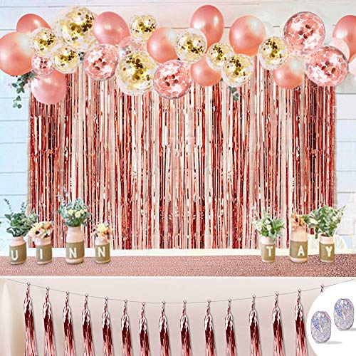 HAYOSNFO Rose Gold Party Decorations, Balloons Party Supplies for Party Deco Birthday Baby Shower Wedding Christmas, 50PCS Kit with Balloons, Tassel Garland, Foil Fringe Curtains, Sequin Table Runner