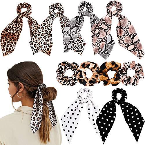 WATINC 10 Stück Leopard Scrunchies Bowknot Haargummis Elastische Haar Ring Scrunchy Haarbänder Gedruckt Starke Gummibänder Vintage Traceless Haarschmuck Pferdeschwanz Halter Accessories für Frauen