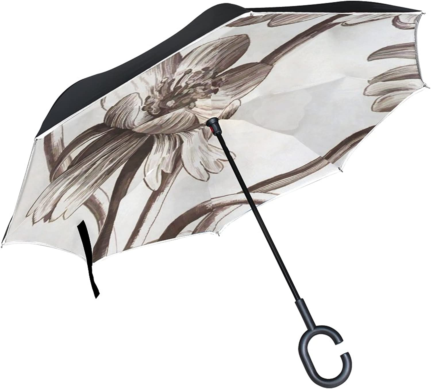 Double Layer Ingreened Floral Sepia Flowers Plant Drawing Vintage Umbrellas Reverse Folding Umbrella Windproof Uv Predection Big Straight Umbrella for Car Rain Outdoor with CShaped Handle