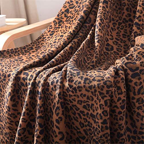 QFWM Manta de punto para sofá de 120 x 180 cm, de algodón, cómoda, ultrasuave, antiarrugas, no se decolora, cálida manta fría al aire libre, ligera (tamaño: talla única; color: marrón)