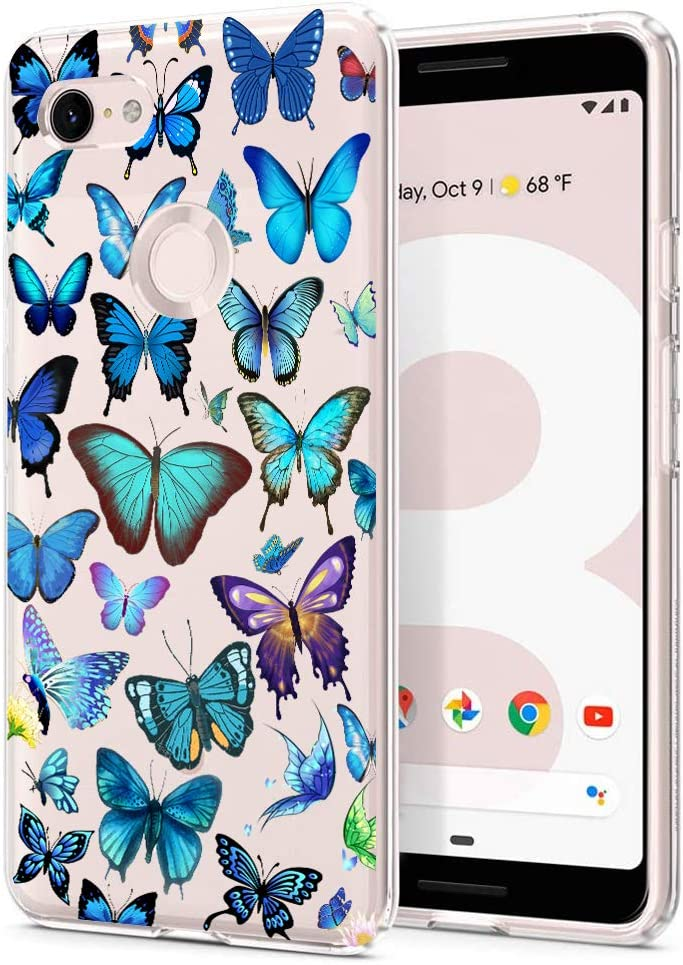 Unov Pixel 3 XL Case Clear with Design Soft TPU Shock Absorption Slim Embossed Pattern Protective Back Cover for Pixel 3 XL 6.3 inch (Butterfly Wonderland)
