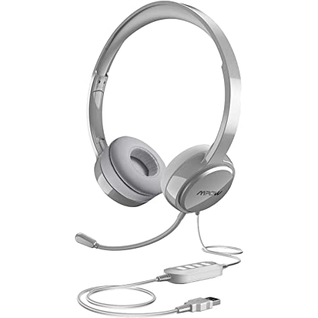40mm Stereo-Driver 2 Pack PC Wired Headset with Clear Conversation for Conference Halls Tablet Laptop Mpow Computer Headset 3.5mm//USB Headset with Noise Cancelling Mic Phone
