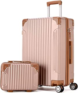 """Luggage,Retro Trolley Case,Student Luggage,Carry on Luggage,Women&MenTrolley Suitcase with TSA Lock (20-26""""Suitcase and Cosmetic Bag),B,24inches"""