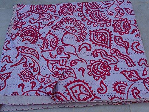 Sophia-Art Colcha india Kantha Suzani con estampado vintage de bloques a mano Kantha, colcha de algodón de patchwork, hecha (rosa)