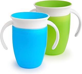 Munchkin Miracle 360o drinkbeker - met handgrepen/bekerdeksel Drinkbeker 207 ml (2 Stuk ) groen/blauw