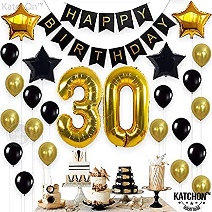Party Decorations Kit Happy Birthday Banner 30th BalloonsGold And Black Celebrating