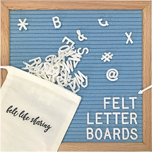 Image of the Light Blue Felt Letter Board 10x10 Inches. Changeable Letter Boards Include 300 White Plastic Letters and Oak Frame.