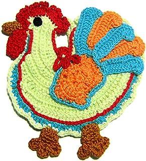 Agarradera de colores en forma de gallo de ganchillo - Tamaño: 14.5 cm x 16 cm H - Handmade - ITALY