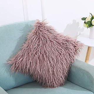 Home Décor Velvet Long Plush Pillow Cover Popular Square Furry Cover Home Bed Room Decoration Pillowcase (Color : Purple)