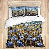WINCAN Bedding Juego de Funda de Edredón,Flores Azules en la Hierba Pintura de Cielo Azul Campo de Flores,Microfibra Funda de Nórdico y Fundas de Almohada-(Cama 220 x 240cm)