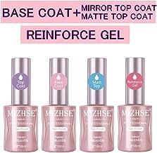 MIZHSE Base and Top Coat Gel Nail Polish,Matte Nail Polish Reinforce Gel Varnish Large Professional Nail Art Manicure Starter Set