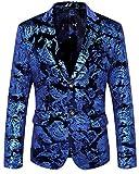 WULFUL Men's Luxury Casual Dress Floral Suit Notched Lapel Slim Fit Stylish Blazer Jacket Party Coats Blue