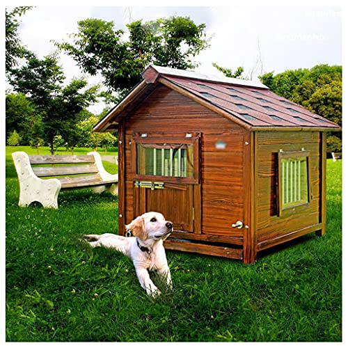 TYX Casetas Perros Exterior Madera Carbonizada, Caseta Perro Madera Casa Perros Refugio Perros, para Jardín Interior Caseta para Perros...