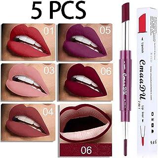 Ownest 5 Color Matte Lipstick Lip Liner Pencil,Double-End Long Lasting Waterproof Lipstick Set-5pcs