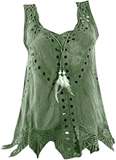 Blouses for Women Summer 2019, Embroidery Hollow Out Lace Plus Size Sleeveless U-Neck Tank Tops T-Shirts by Leegor(S-5XL)