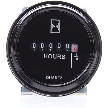 """9-32V Hour Meter 2/"""" Round Gauge Waterproof for Boat Engine Black Chrome"""