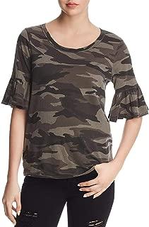 Womens Camouflage Ruffle Sleeves T-Shirt