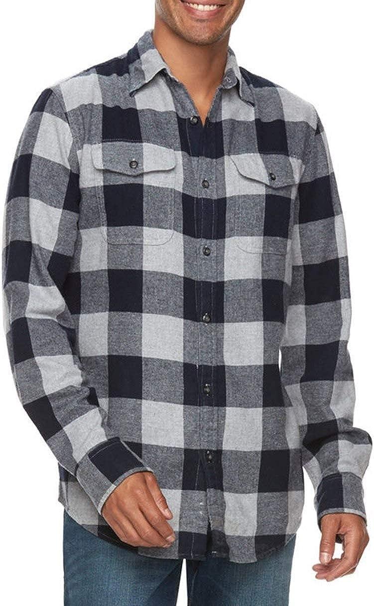 Sonoma Mens Classic Fit Flannel Shirt Dark Gray Buffalo Plaid Check 2 Pockets