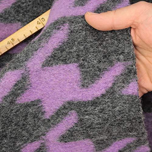 kawenSTOFFE Wollflausch groß Gemustert grau lila gekochte Wolle Wollstoff Meterware