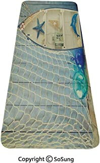 Nautical Rug Runner,Nautical Boat Standing Against The Wall Other Aquatic Objects Sea Featured Picture,for Living Room Bedroom Dining Room,6'x 2′,Blue Beige