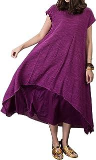 Outline Women's Cotton Viscose Fiber Short Sleeve Maxi Dresses
