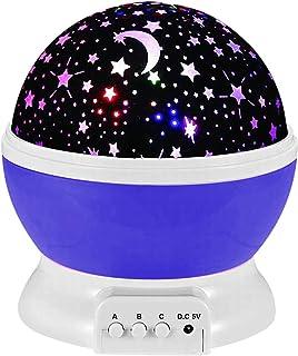 投影ライト星空ライトスタープロジェクター ナイトライト360度回転スタースカイプロジェクターナイトライト、多色変更 室内用、ロマンチック雰囲気を作り、7色変化モード LED電球?子供、赤ちゃんにプレゼント (むらさき)