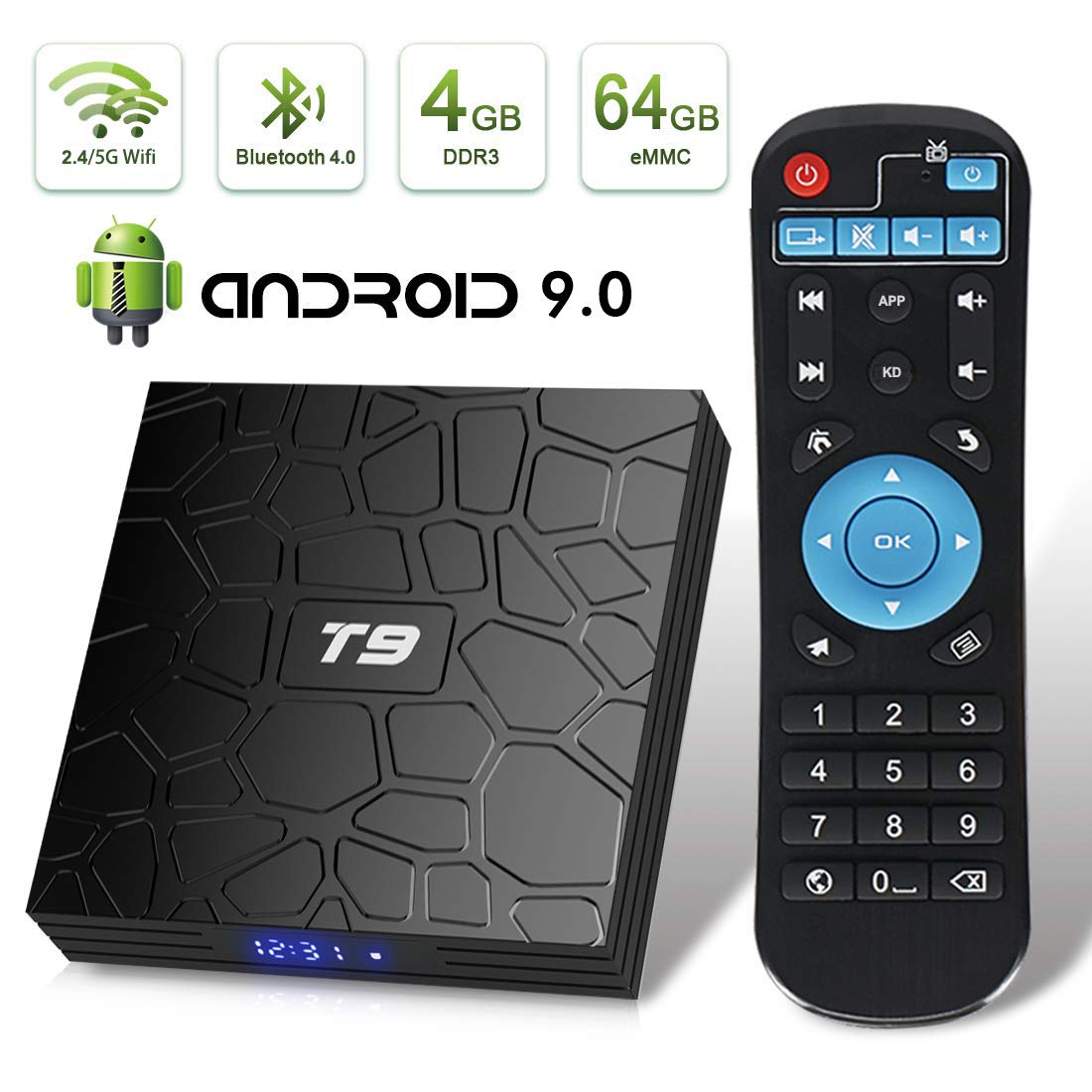 EVER EXPRESS T9 Android 9.0 TV Box 4GB DDR3 RAM 64GB ROM RK3318 Quad-Core Cortex-A53 64 Bits Bluetooth 4.0 Support 2.4/5.0GHz WiFi 4K 3D Ultra HD HDMI H.265