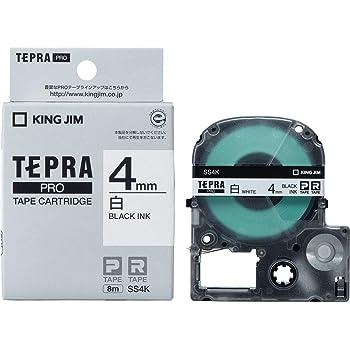 キングジム テープカートリッジ テプラPRO 4mm SS4K 白/黒文字