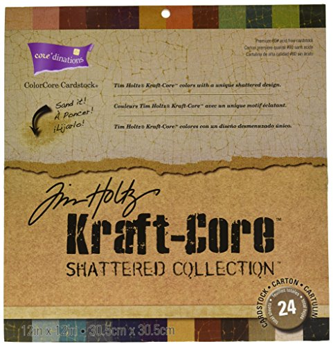 """Core'dinations Kraft Core By Tim Holtz 12""""X12"""" 24/Pkg-Shattered"""