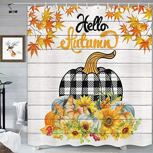 MERCHR Herbst-Kürbis-Duschvorhang, Bauernhof-Ahornblätter, Thanksgiving-Herbst-Badezimmerduschvorhang, grauer hölzerner Vintage-Stil, wasserdichter Stoffstoff, Badvorhang mit Haken, 175 x 178 cm