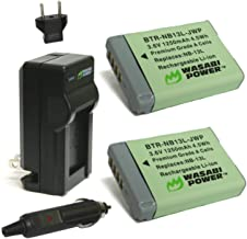 Wasabi Power NB-13L Battery (2-Pack) and Charger for Canon PowerShot G1 X Mark III, G5 X, G7 X, G7 X Mark II, G9 X, G9 X M...