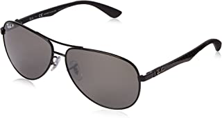 RAY-BAN Men's RB8313 Aviator Carbon Fiber Sunglasses, Shiny Black/Polarized Grey Mirror, 61 mm