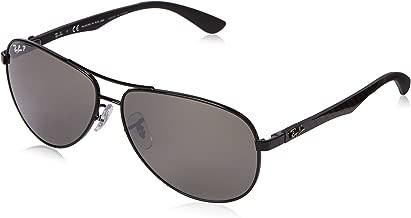 RAY-BAN Men's RB8313 Aviator Carbon Fiber Sunglasses, Shiny Black/Polarized Grey Mirror, 61 mm
