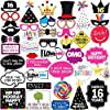 16th誕生日パーティ写真ブース小道具–40Pieces–Funny Sweet Sixteen誕生日パーティー用品、デコレーションとFavors
