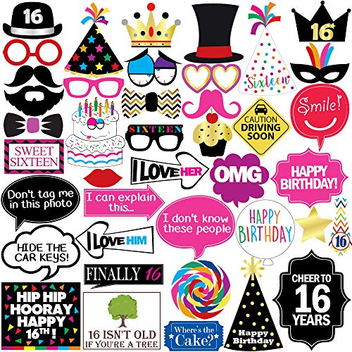16th Sweet 16 Birthday Photo Booth Party Props - 40 Pieces - Funny 16th Birthday Party Supplies, Decorations and Favors