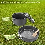 Juego de utensilios de cocina prácticos de aleación de aluminio, utensilios de cocina portátiles duraderos y convenientes, viajes para exteriores(Green handle)