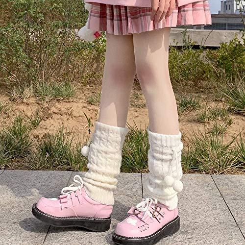 HUAHUA Calcetines largos de Lolita japonés Sweet Girl calentadores de la pierna de lana de punto de bola cubierta del pie de las mujeres del invierno del otoño calentador de la pierna Calcetines Calce